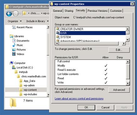 iis user permissions